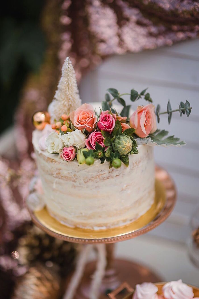 Semi-naked Christmas Cake from a Rose Gold Holiday Party on Kara's Party Ideas | KarasPartyIdeas.com (10)