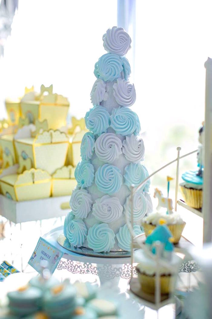 Meringue tower from a Royal Prince Birthday Party on Kara's Party Ideas | KarasPartyIdeas.com (22)