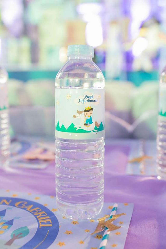 Water bottle from a Royal Prince Birthday Party on Kara's Party Ideas | KarasPartyIdeas.com (18)