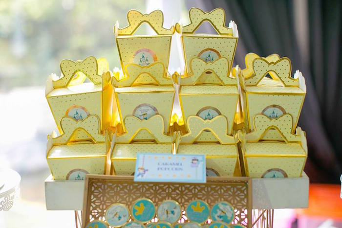 Caramel popcorn boxes from a Royal Prince Birthday Party on Kara's Party Ideas | KarasPartyIdeas.com (17)