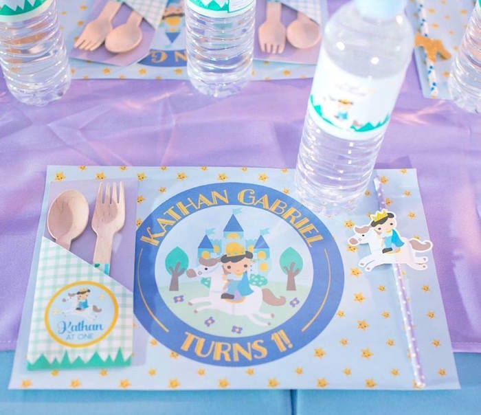 Kid table setting from a Royal Prince Birthday Party on Kara's Party Ideas | KarasPartyIdeas.com (13)