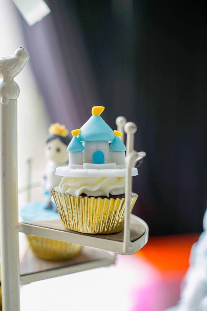 Castle cupcake from a Royal Prince Birthday Party on Kara's Party Ideas | KarasPartyIdeas.com (12)