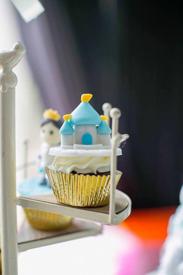 Castle cupcake from a Royal Prince Birthday Party on Kara's Party Ideas | KarasPartyIdeas.com (12)