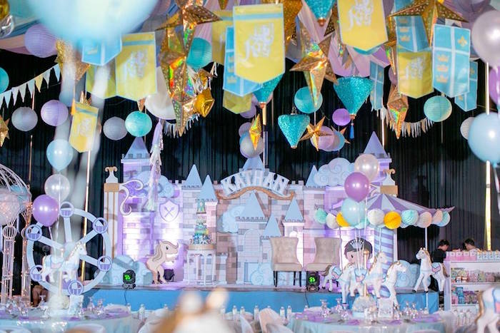 Castle backdrop from a Royal Prince Birthday Party on Kara's Party Ideas | KarasPartyIdeas.com (4)