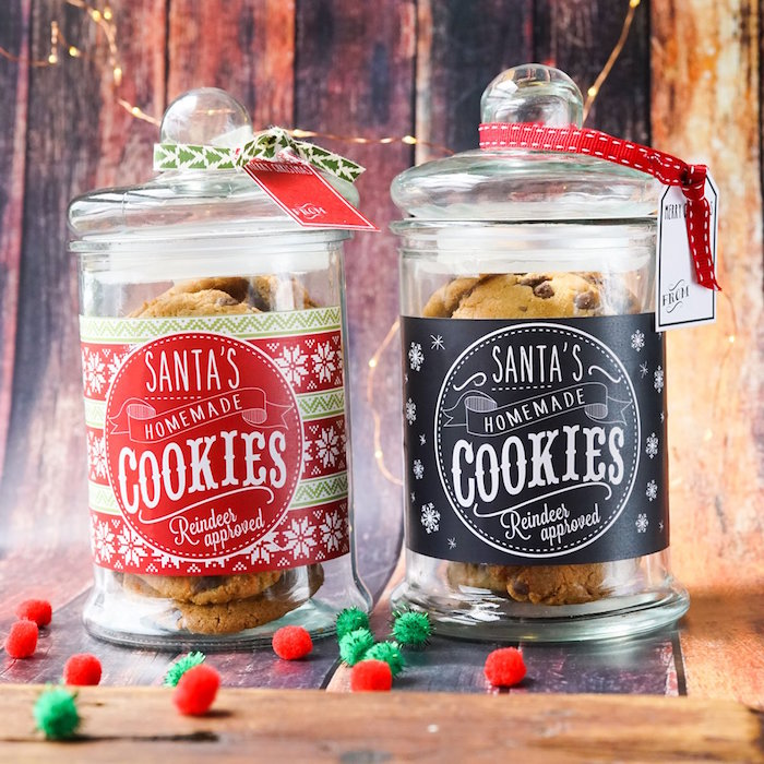 FREE Printable Christmas Cookie Jar Labels on Kara's Party Ideas | KarasPartyIdeas.com