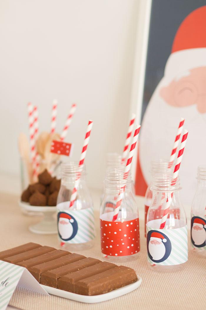 Christmas drink bottles from a Santa's Sweet Table on Kara's Party Ideas   KarasPartyIdeas.com (8)