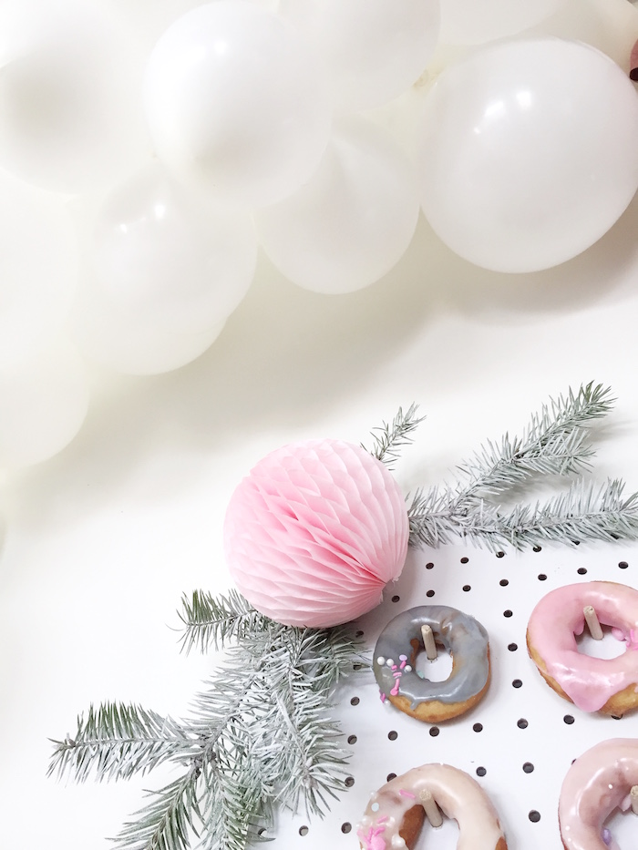 Winter sprig and tissue ball garland from a Shopkins Winter Wonderland Birthday Party on Kara's Party Ideas | KarasPartyIdeas.com (6)