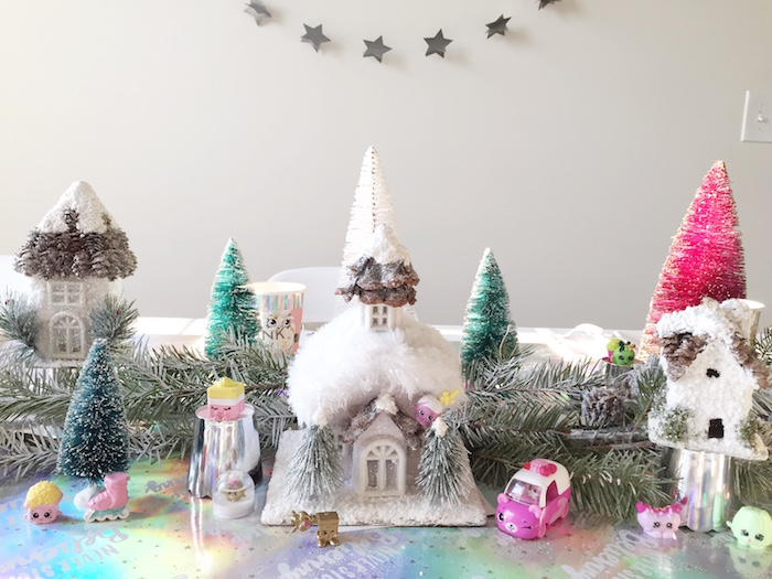 Winter village garland from a Shopkins Winter Wonderland Birthday Party on Kara's Party Ideas | KarasPartyIdeas.com (17)