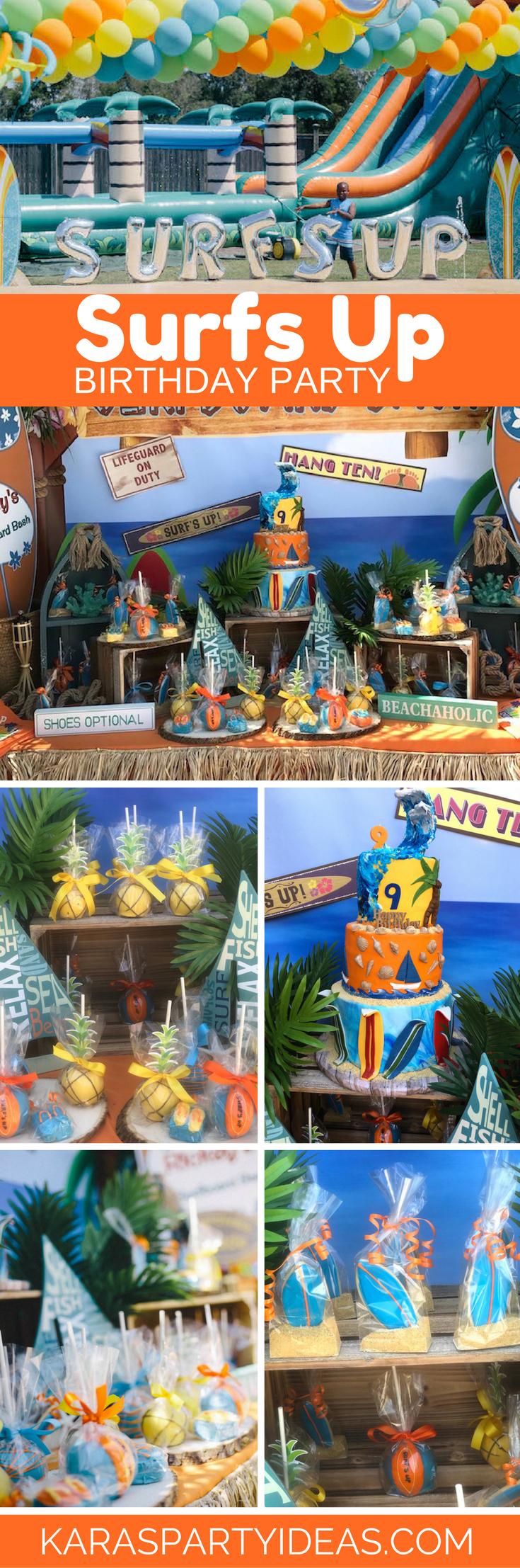 Surfs Up Birthday Party via Kara's Party Ideas - KarasPartyIdeas.com