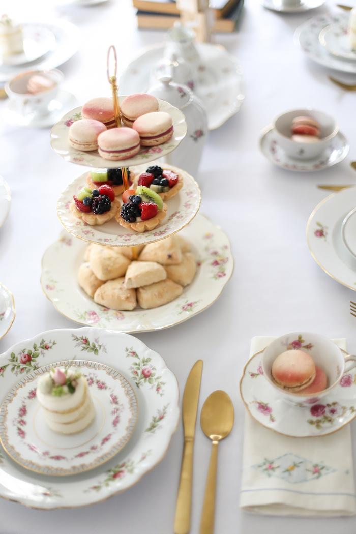 Tea tablescape from a Sweet Autumn 100th Day Tea Party on Kara's Party Ideas | KarasPartyIdeas.com (10)