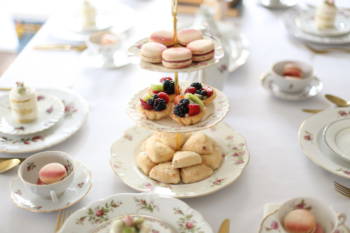Tiered floral dessert tray from a Sweet Autumn 100th Day Tea Party on Kara's Party Ideas | KarasPartyIdeas.com (9)