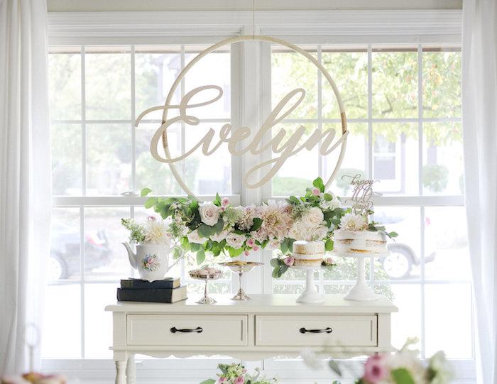 Garden dessert table from a Sweet Autumn 100th Day Tea Party on Kara's Party Ideas | KarasPartyIdeas.com (8)