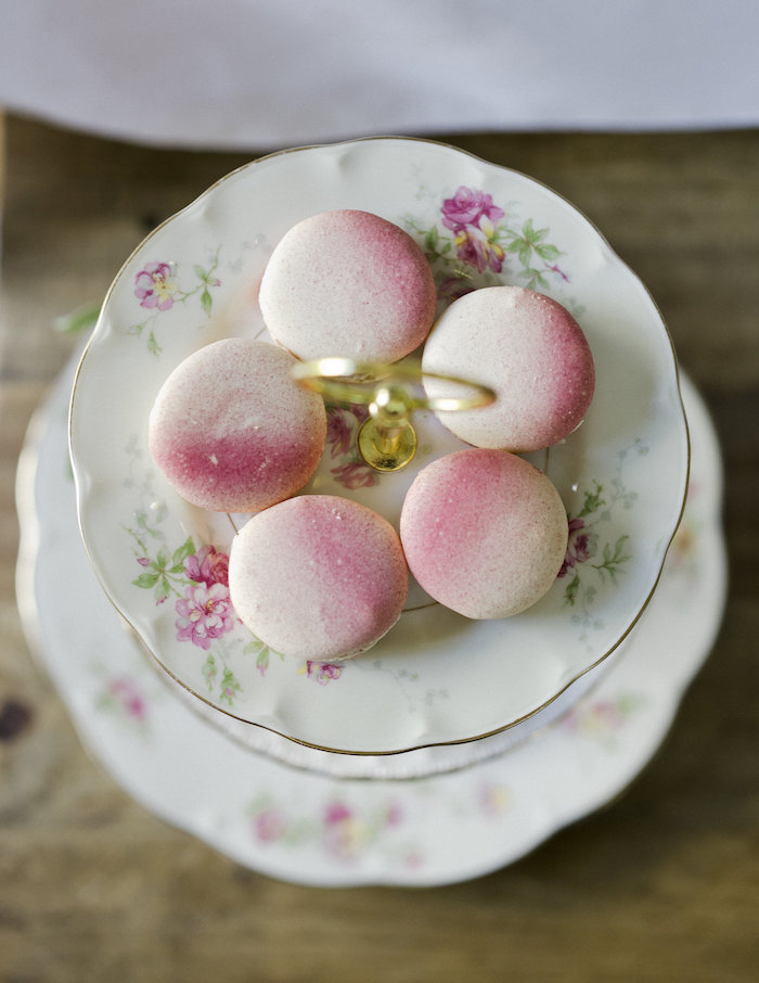 Pink ombre macarons from a Sweet Autumn 100th Day Tea Party on Kara's Party Ideas | KarasPartyIdeas.com (18)