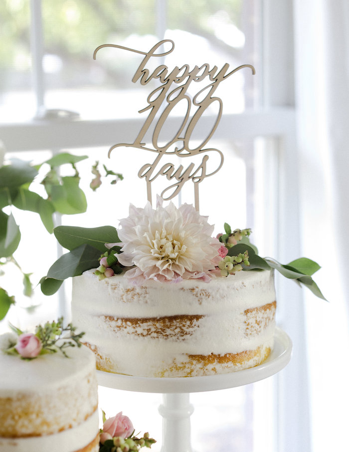 Floral semi-naked cake from a Sweet Autumn 100th Day Tea Party on Kara's Party Ideas | KarasPartyIdeas.com (15)