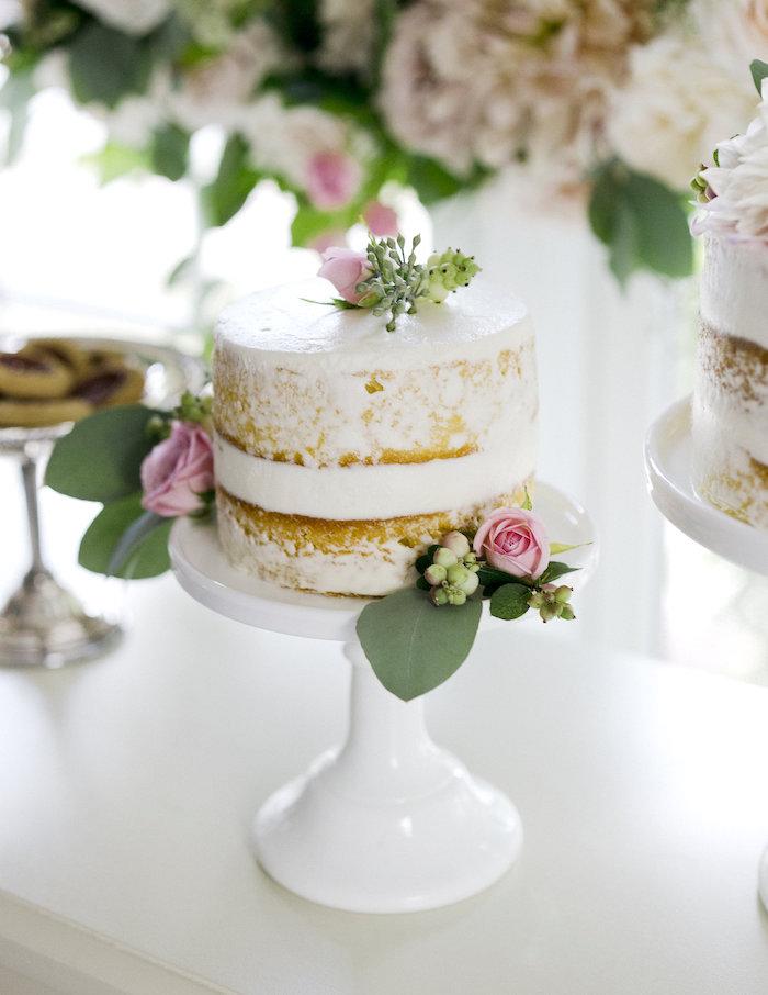 Semi-naked cake from a Sweet Autumn 100th Day Tea Party on Kara's Party Ideas | KarasPartyIdeas.com (14)