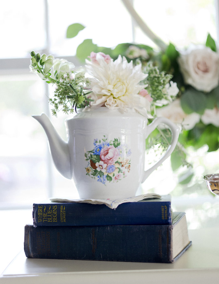 Tea kettle floral arrangement from a Sweet Autumn 100th Day Tea Party on Kara's Party Ideas | KarasPartyIdeas.com (13)