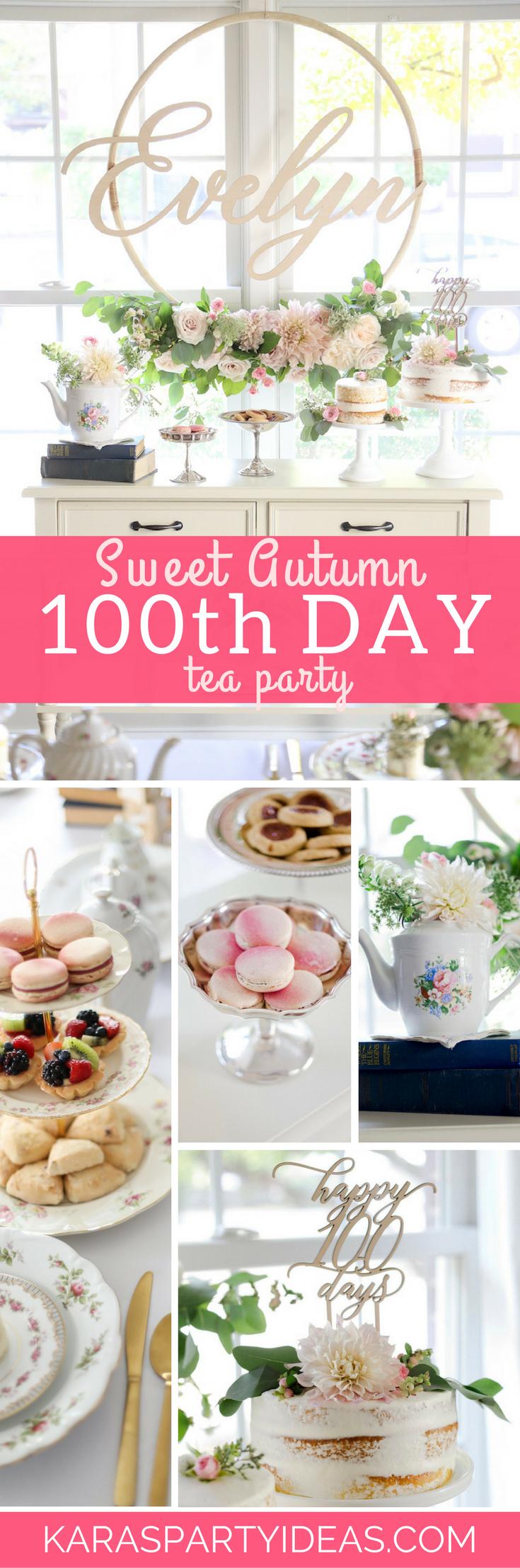 Sweet Autumn 100th Day Tea Party via Kara's Party Ideas - KarasPartyIdeas.com