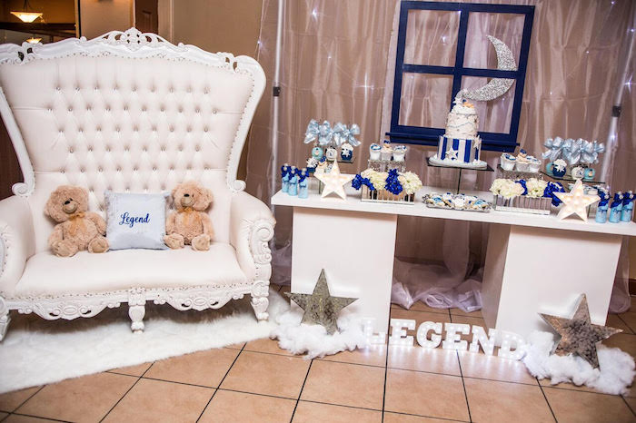 Dessert table and throne from a Twinkle Twinkle Little Star Baby Shower on Kara's Party Ideas | KarasPartyIdeas.com (9)