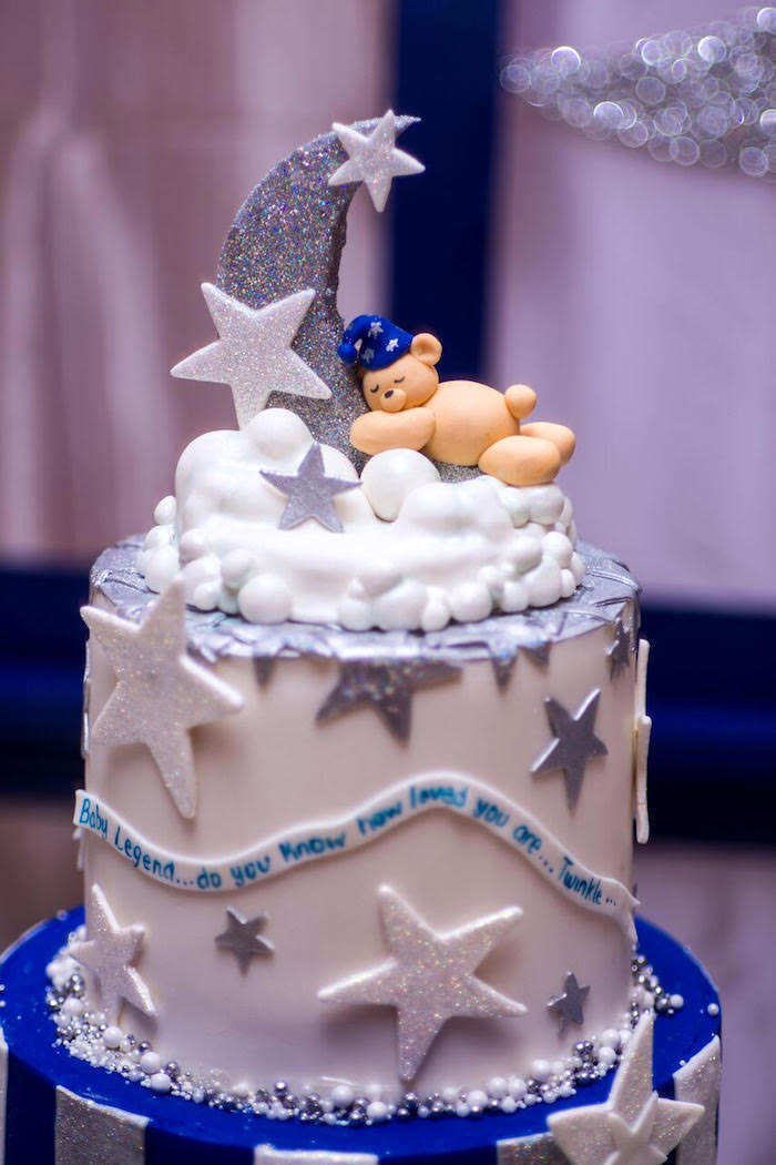 Star studded cake top from a Twinkle Twinkle Little Star Baby Shower on Kara's Party Ideas | KarasPartyIdeas.com (15)