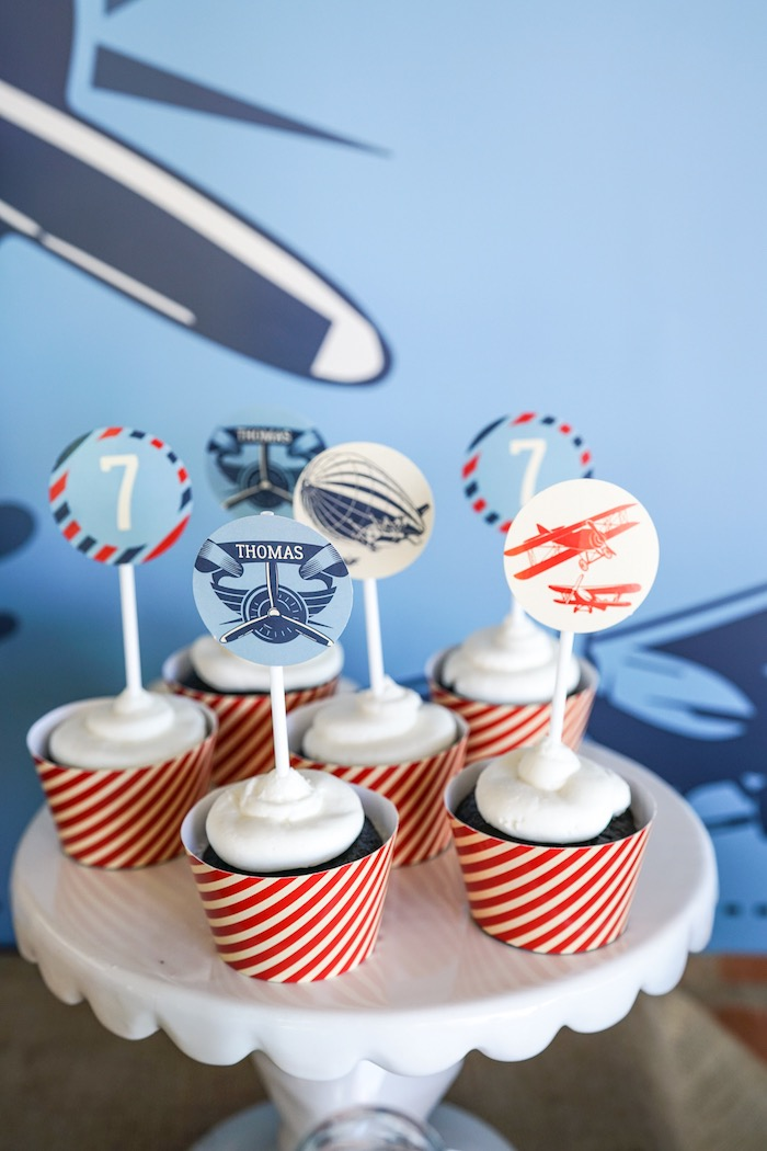 Cupcakes from a Vintage Aviation + Travel Party on Kara's Party Ideas | KarasPartyIdeas.com (23)