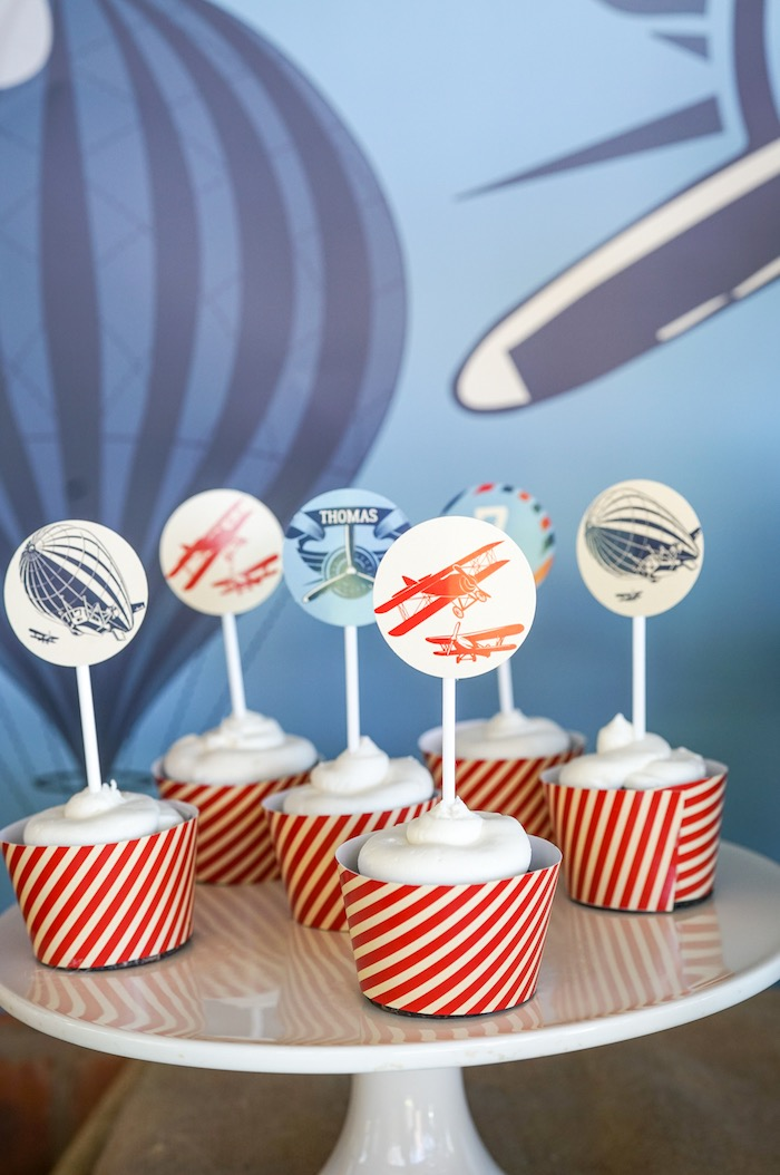 Cupcakes from a Vintage Aviation + Travel Party on Kara's Party Ideas | KarasPartyIdeas.com (22)