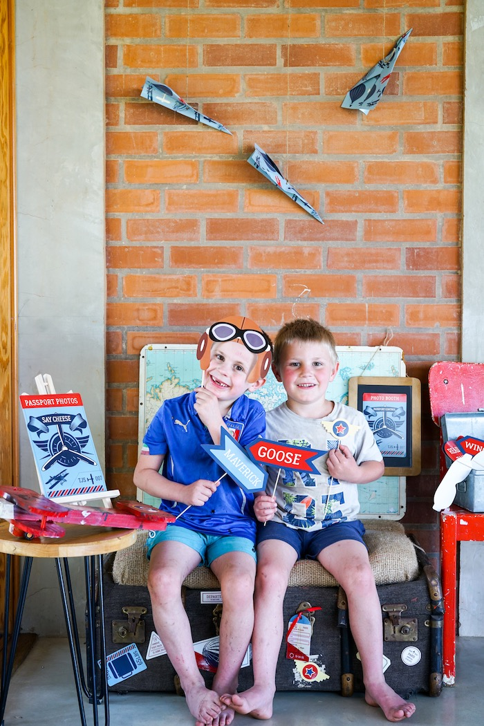 Photo booth from a Vintage Aviation + Travel Party on Kara's Party Ideas   KarasPartyIdeas.com (16)