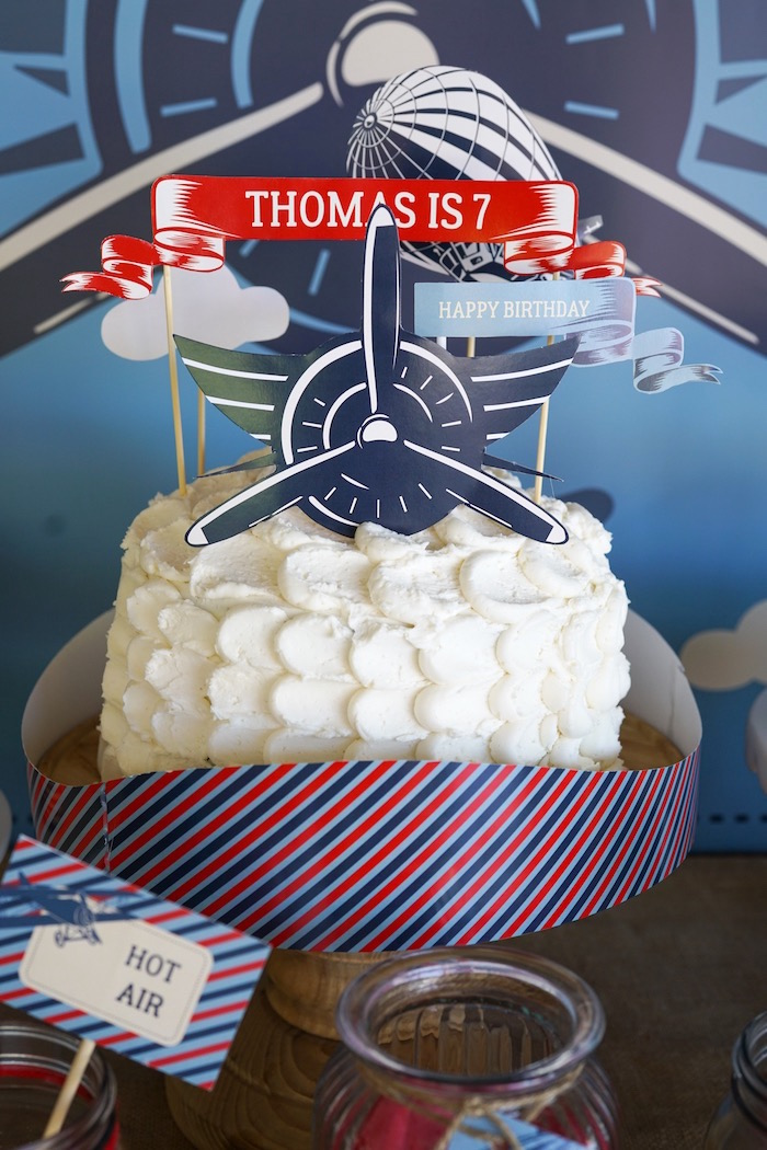 Cake from a Vintage Aviation + Travel Party on Kara's Party Ideas | KarasPartyIdeas.com (14)