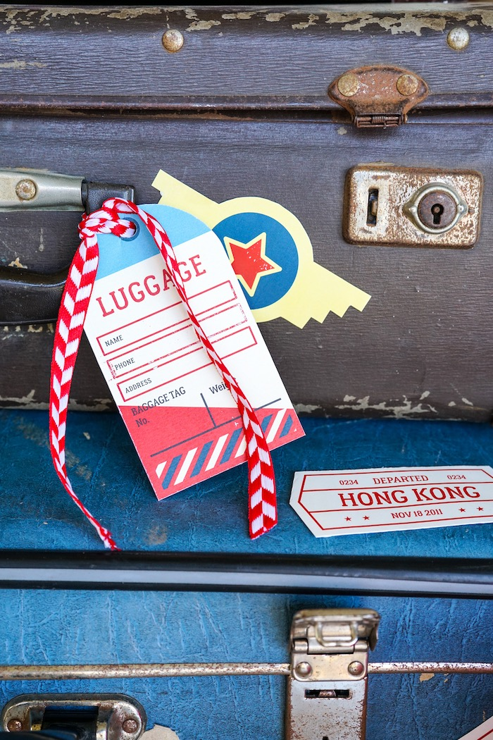 Luggage tag from a Vintage Aviation + Travel Party on Kara's Party Ideas | KarasPartyIdeas.com (10)