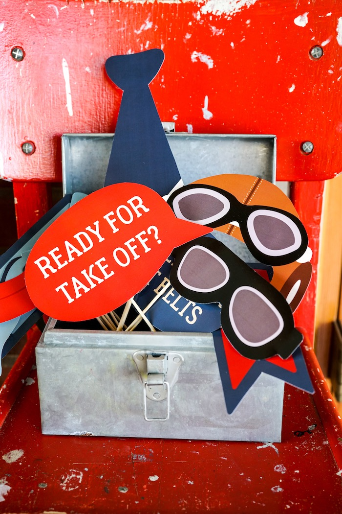 Photo booth props from a Vintage Aviation + Travel Party on Kara's Party Ideas   KarasPartyIdeas.com (9)