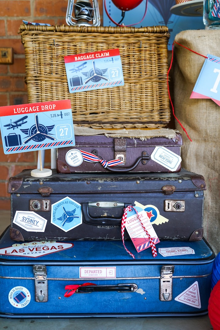 Baggage claim + luggage drop from a Vintage Aviation + Travel Party on Kara's Party Ideas | KarasPartyIdeas.com (7)