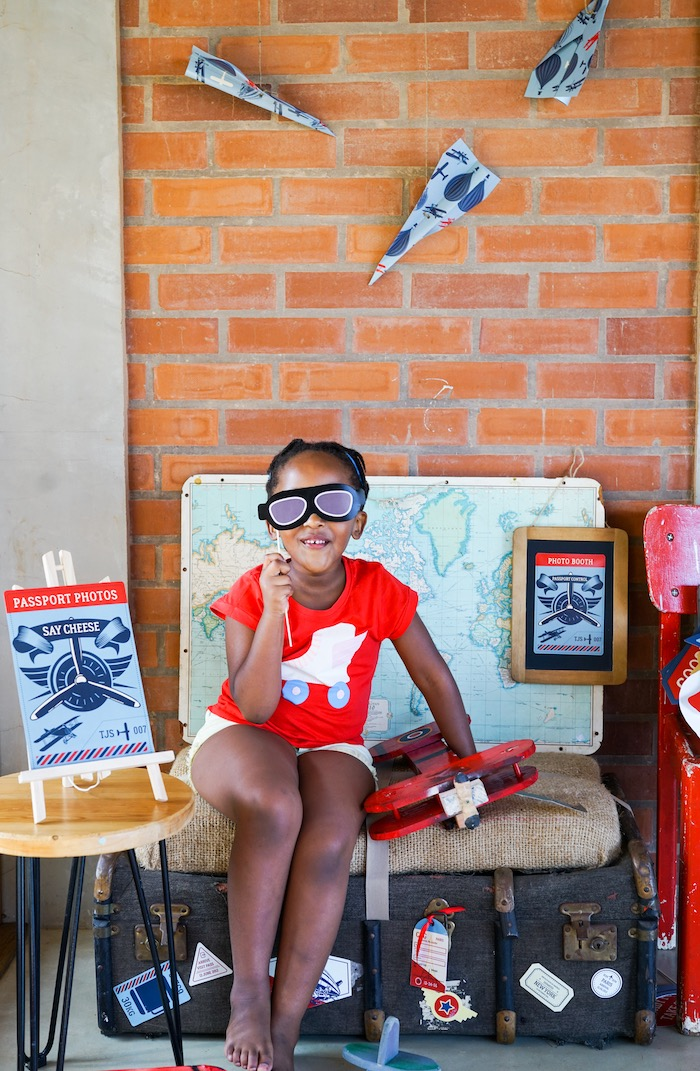 Photo booth from a Vintage Aviation + Travel Party on Kara's Party Ideas   KarasPartyIdeas.com (6)