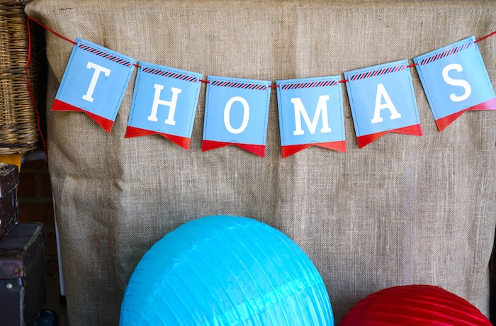 Name banner from a Vintage Aviation + Travel Party on Kara's Party Ideas   KarasPartyIdeas.com (32)
