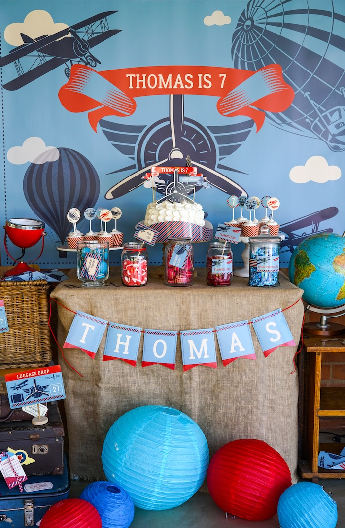 Dessert table from a Vintage Aviation + Travel Party on Kara's Party Ideas | KarasPartyIdeas.com (28)