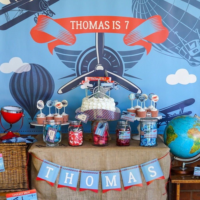 Sweet table from a Vintage Aviation + Travel Party on Kara's Party Ideas   KarasPartyIdeas.com (27)