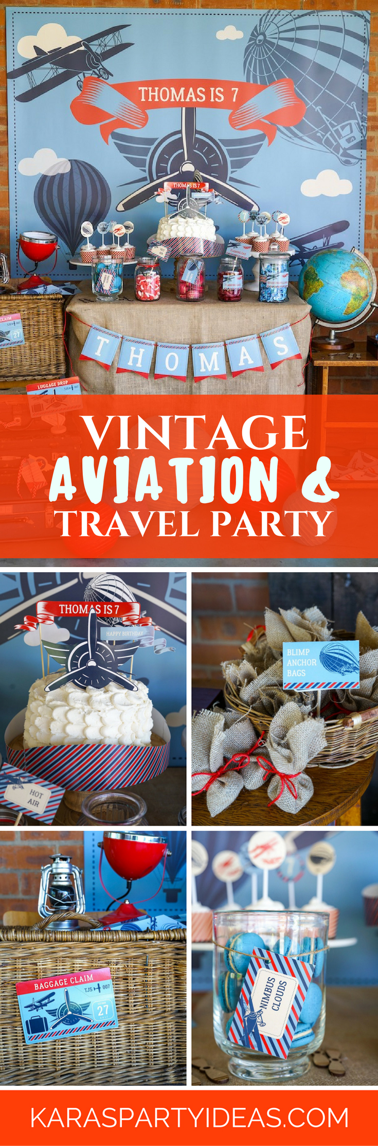 Kara\'s Party Ideas Vintage Aviation + Travel Party | Kara\'s Party Ideas
