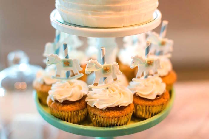 Carousel cupcakes from a Vintage Carousel Baptism Party on Kara's Party Ideas | KarasPartyIdeas.com (7)