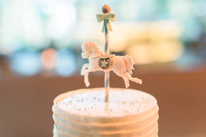 Carousel cake topper from a Vintage Carousel Baptism Party on Kara's Party Ideas | KarasPartyIdeas.com (5)