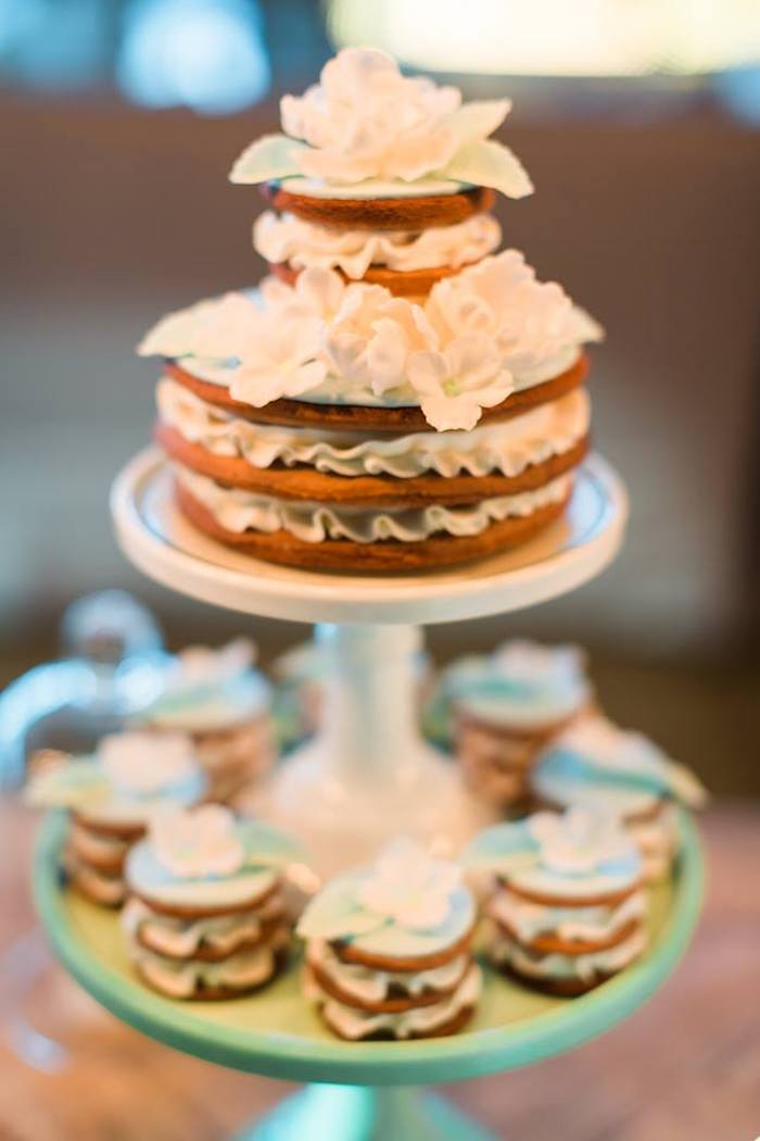 Stacked cakes and cookies from a Vintage Carousel Baptism Party on Kara's Party Ideas | KarasPartyIdeas.com (4)