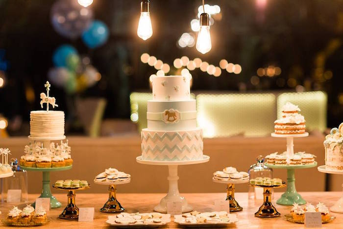 Cake table from a Vintage Carousel Baptism Party on Kara's Party Ideas | KarasPartyIdeas.com (19)