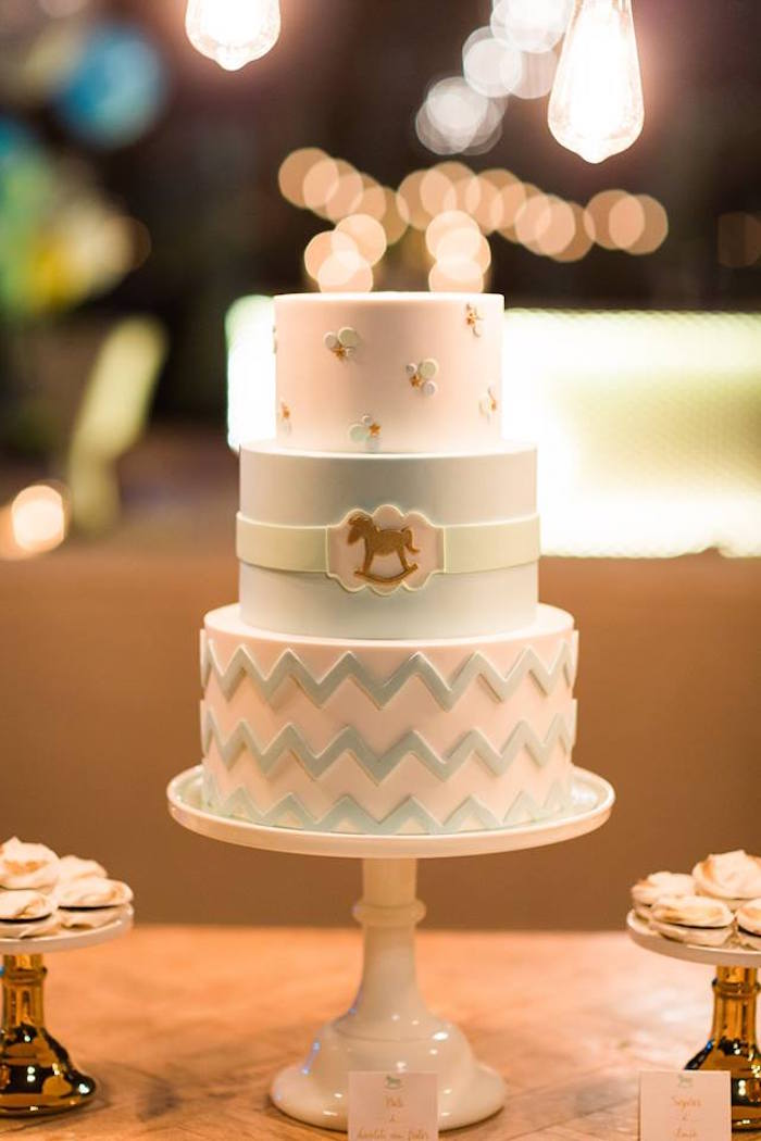 Cake from a Vintage Carousel Baptism Party on Kara's Party Ideas | KarasPartyIdeas.com (18)