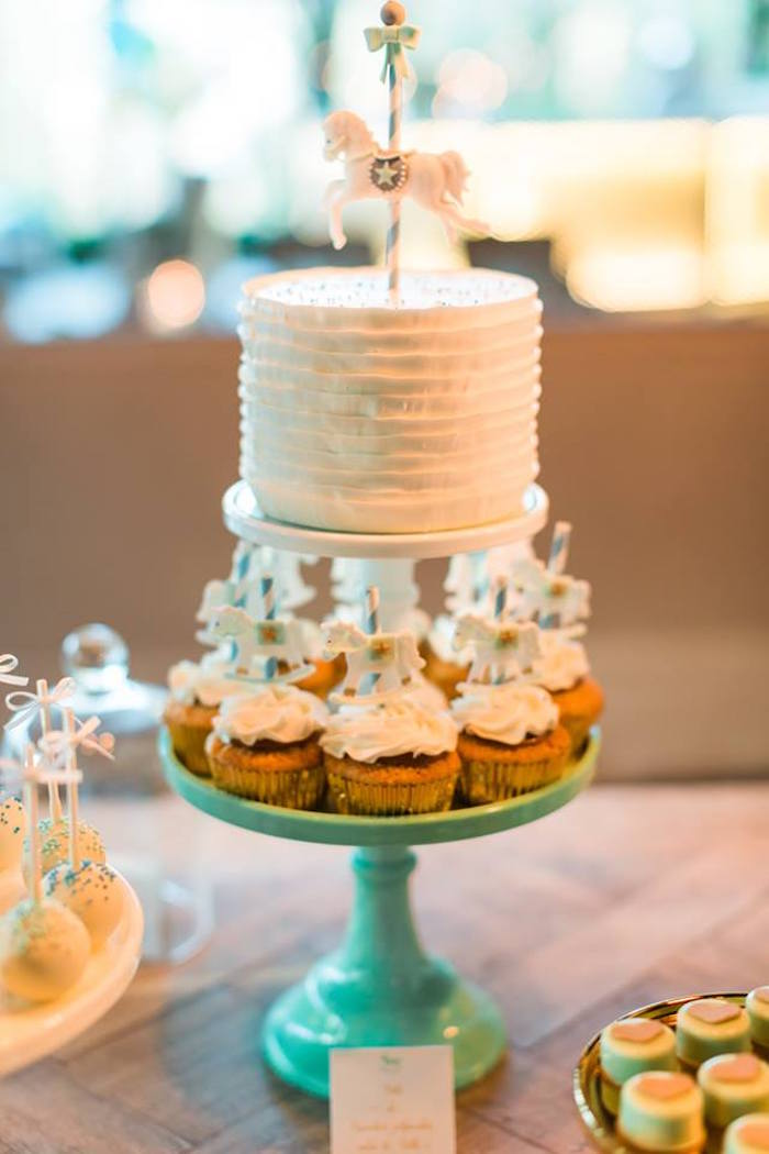 Cake & cupcakes from a Vintage Carousel Baptism Party on Kara's Party Ideas | KarasPartyIdeas.com (17)