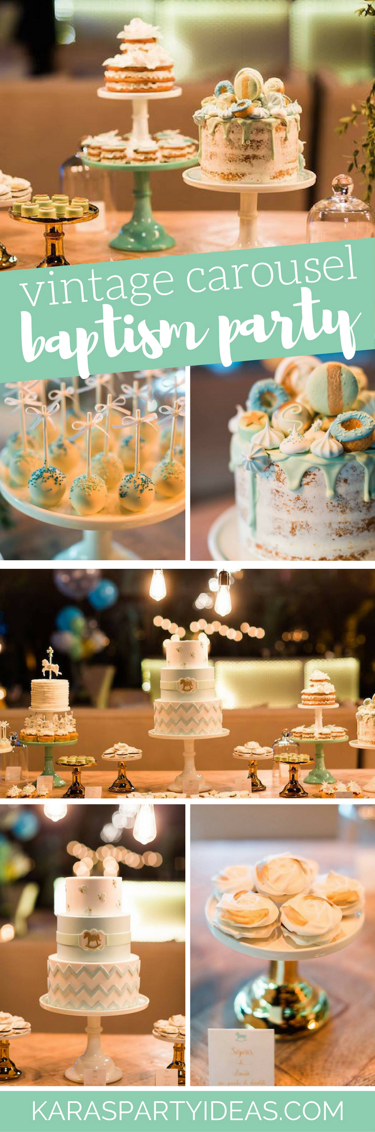 Vintage Carousel Baptism Party via Kara's Party Ideas - KarasPartyIdeas.com