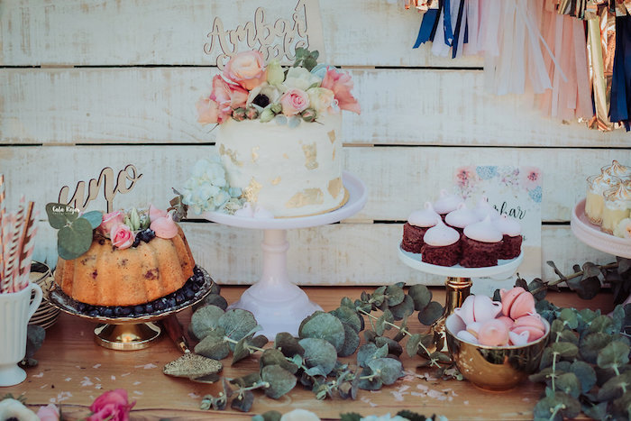 Dessert table from a Whimsical Vintage 1st Birthday Party on Kara's Party Ideas | KarasPartyIdeas.com (17)