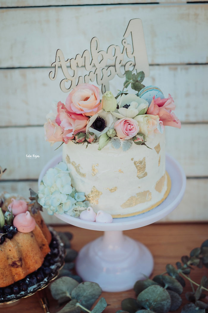 Floral glam cake from a Whimsical Vintage 1st Birthday Party on Kara's Party Ideas | KarasPartyIdeas.com (16)