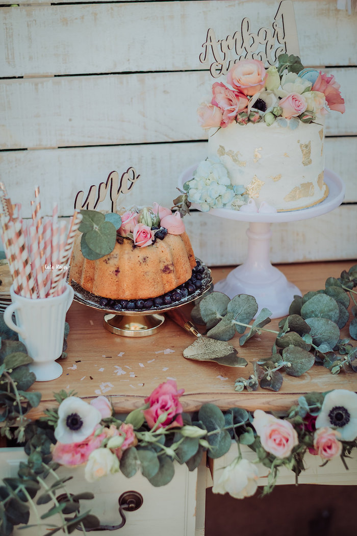 Cakes from a Whimsical Vintage 1st Birthday Party on Kara's Party Ideas | KarasPartyIdeas.com (15)