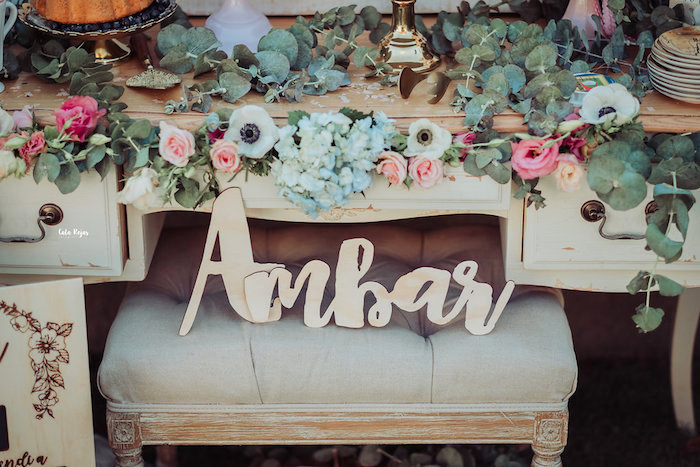 Signage & stuffed blooms from a Whimsical Vintage 1st Birthday Party on Kara's Party Ideas | KarasPartyIdeas.com (14)