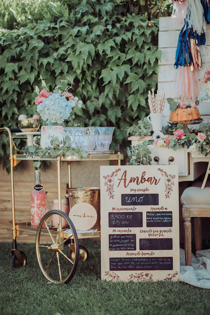 Beverage cart from a Whimsical Vintage 1st Birthday Party on Kara's Party Ideas | KarasPartyIdeas.com (12)