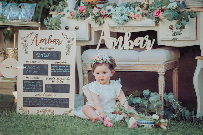 Wood milestone board from a Whimsical Vintage 1st Birthday Party on Kara's Party Ideas | KarasPartyIdeas.com (11)