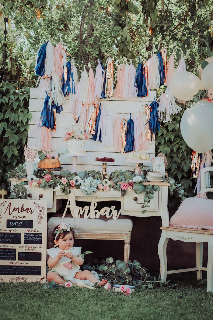 Dessert table from a Whimsical Vintage 1st Birthday Party on Kara's Party Ideas | KarasPartyIdeas.com (9)