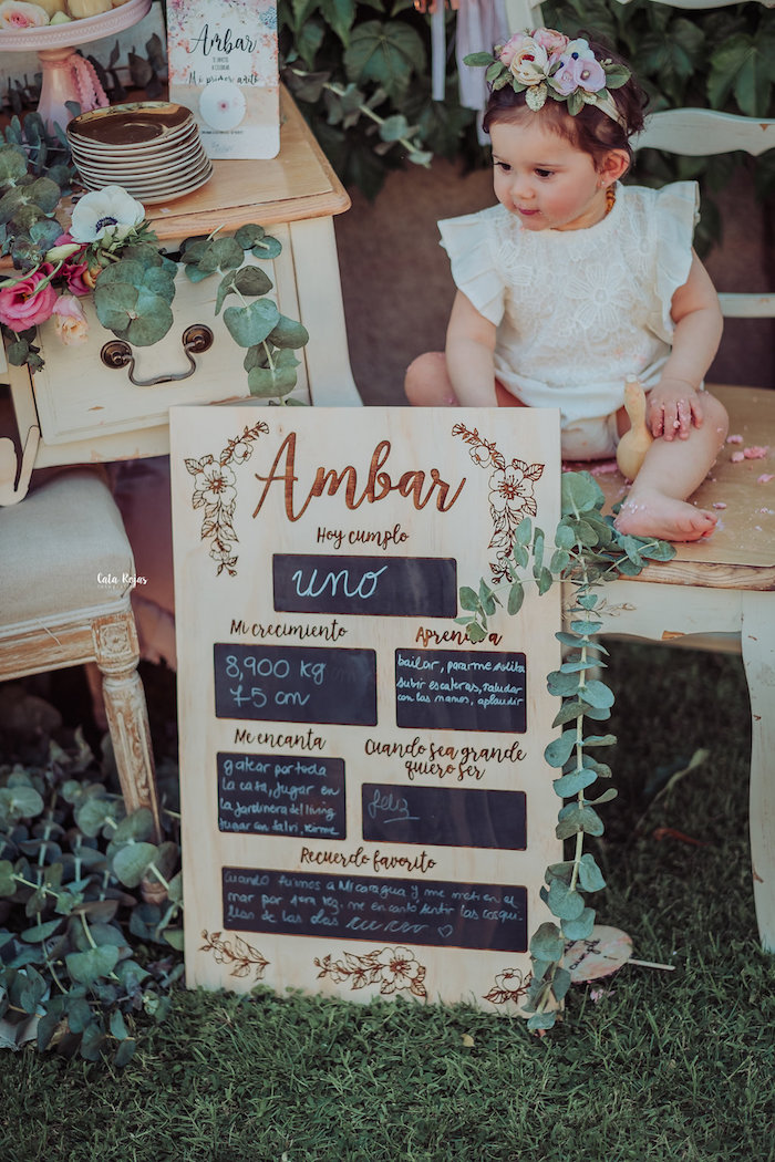 Wood milestone board from a Whimsical Vintage 1st Birthday Party on Kara's Party Ideas | KarasPartyIdeas.com (27)